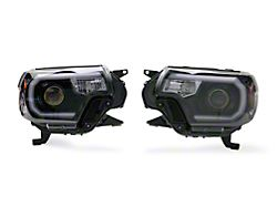 Light Bar DRL Projector Headlights; Gloss Black Housing; Smoked Lens (12-15 Tacoma)