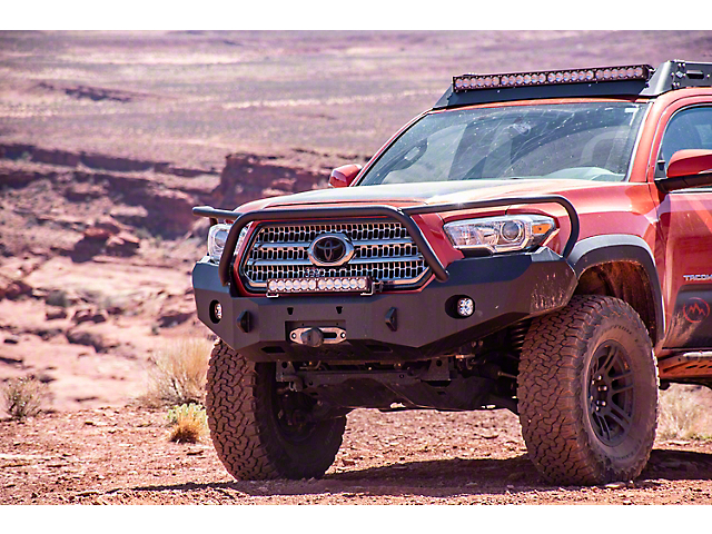 Expedition One Range Max Front Bumper with Bull Bar; Textured Black (16-20 Tacoma)