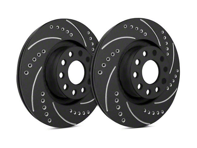 SP Performance Cross-Drilled and Slotted Rotors with Black Zinc Coating; Rear Pair (09-20 GT, R/T, T/A; 11-20 SE, SXT w/ Dual Piston Rear Calipers)