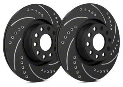 FRONT POWER PERFORMANCE DRILLED SLOTTED PLATED BRAKE DISC ROTORS P31455