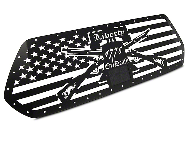 1-Piece Steel Pro Style Upper Grille Overlay; Liberty or Death (18-21 Tacoma)