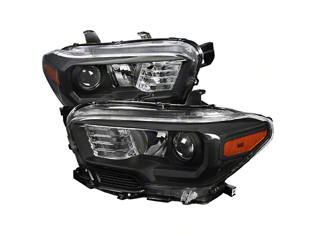 Projector Headlights; Black Housing; Clear Lens (16-21 Tacoma w/o Factory LED DRL)
