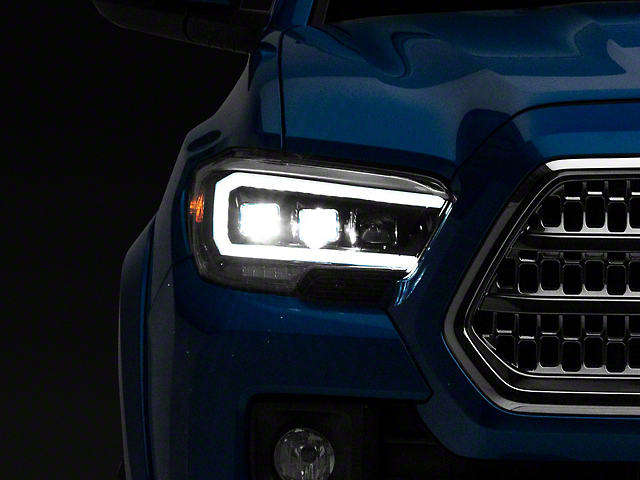 Plank Style LED Projector Headlights; Black Housing; Clear Lens (16-18 Tacoma)