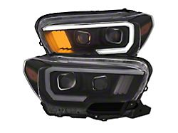 Plank Style Projector Headlights; Black Housing; Clear Lens (16-21 Tacoma w/o Factory LED DRL)