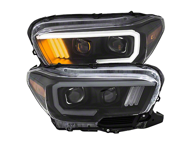 Plank Style Projector Headlights; Black Housing; Clear Lens (16-21 Tacoma w/ Factory LED DRL)