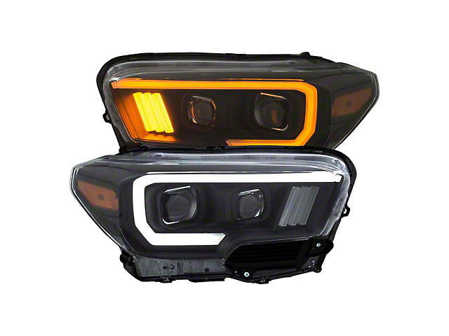 Plank Style Switchback Projector Headlights; Black Housing; Clear Lens (16-21 Tacoma w/o Factory LED DRL)