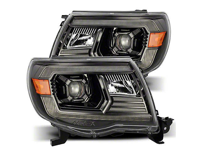 LUXX-Series LED Projector Headlights; Alpha Black Housing; Clear Lens (05-11 Tacoma w/ Factory DRL)