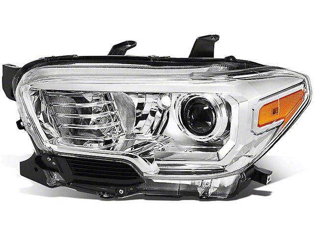 OE Style Headlight; Chrome Housing; Clear Lens; Driver Side (16-21 Tacoma w/o Factory LED DRL)