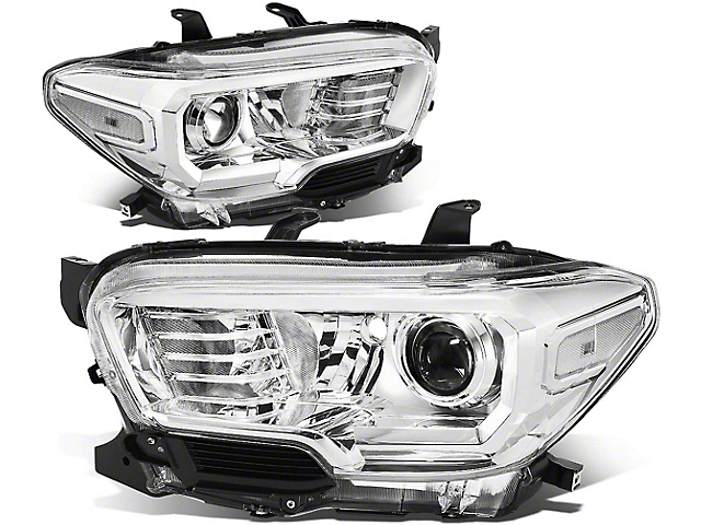 Projector Headlights with Clear Corners; Chrome Housing; Clear Lens (16-21 Tacoma w/o Factory LED DRL)