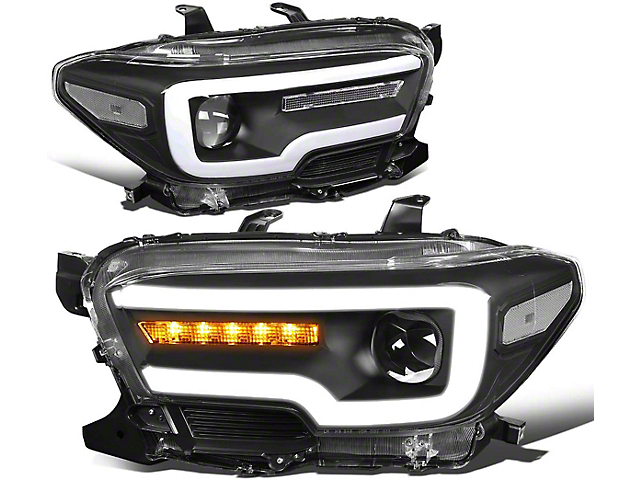 Sequential Turn Signal Projector Headlights with Clear Corners; Black Housing; Clear Lens (16-21 Tacoma w/o Factory LED DRL)