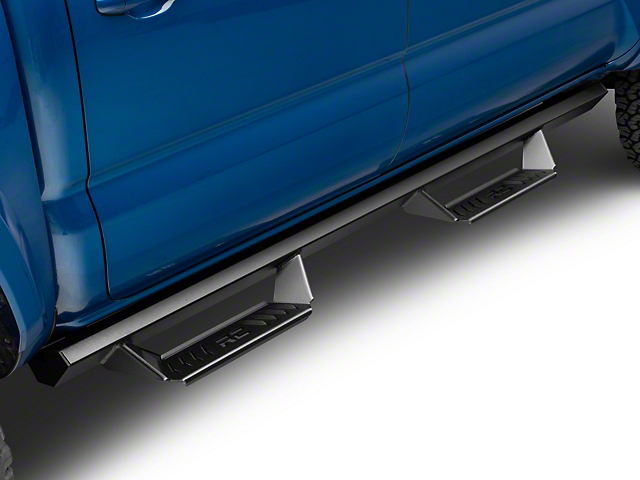 Rough Country Cab Length AL2 Drop Side Step Bars; Black (05-21 Tacoma Double Cab)