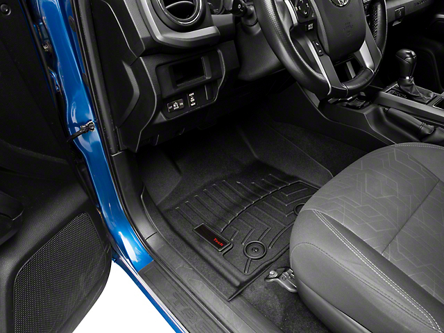 Weathertech DigitalFit Front and Rear Floor Liners; Black (16-17 Tacoma Double Cab w/ Automatic Transmission)