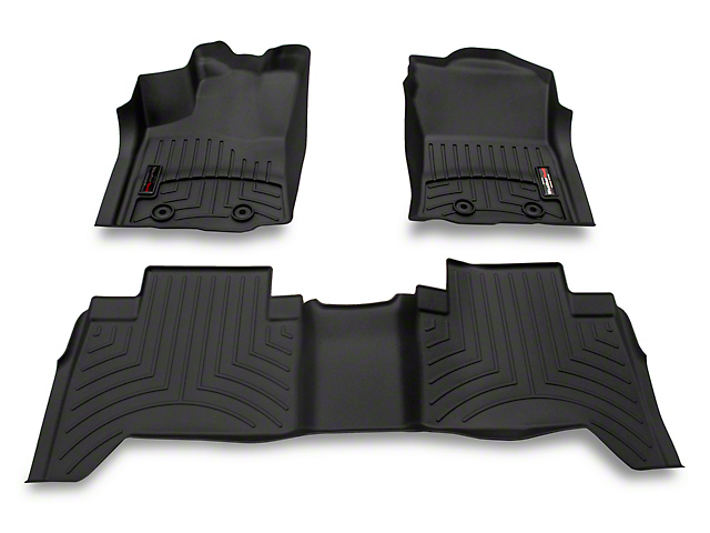 Weathertech DigitalFit Front and Rear Floor Liners; Black (18-21 Tacoma Double Cab w/ Automatic Transmission)