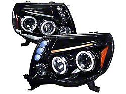 JDM Style Dual Halo Projector Headlights; Glossy Black Housing; Smoked Lens (05-11 Tacoma)