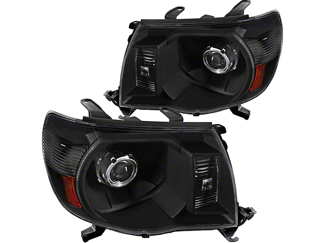 JDM Style Projector Headlights; Matte Black Housing; Clear Lens (05-11 Tacoma)