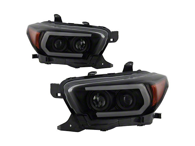 Signature Series Sequential Turn Signal Projector Headlights; Black Housing; Smoked Lens (16-18 Tacoma SR5)