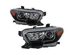 Switchback LED DRL Projector Headlights; Black Housing; Clear Lens (16-21 Tacoma SR, SR5)