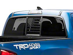 SEC10 Middle Window Distressed American Flag Decal; Matte Black (05-21 Tacoma)