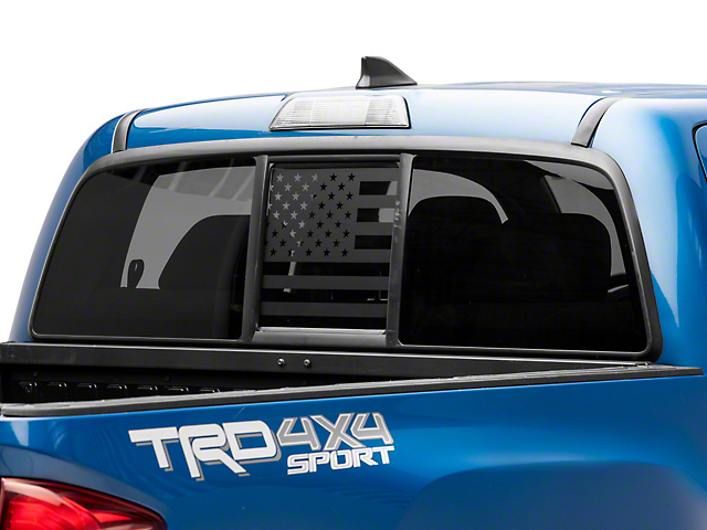SEC10 Middle Window American Flag Decal; Matte Black (05-21 Tacoma)
