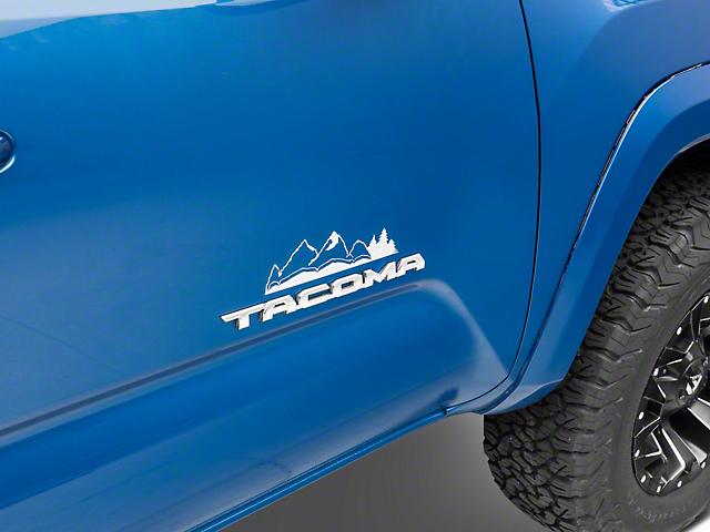 SEC10 Emblem Surround Mountain Decal; Silver (05-21 Tacoma)