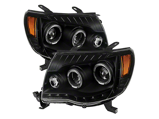 Halo Projector Headlights; Black Housing; Clear Lens (05-11 Tacoma)