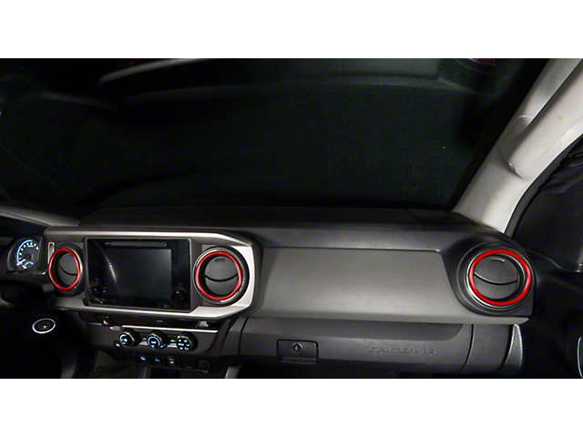 A/C Vent Ring Accents; Matte TRD Red (16-21 Tacoma)