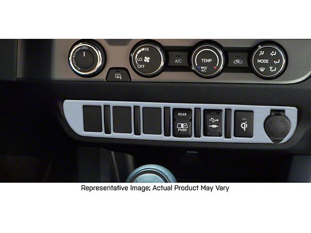 Center Dash 5-Switch Panel Accent Trim; Brushed Silver (16-21 Tacoma)