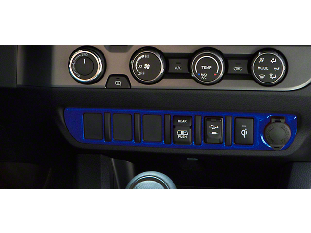 Center Dash 6-Switch Panel Accent Trim; Blazing Blue (16-21 Tacoma)
