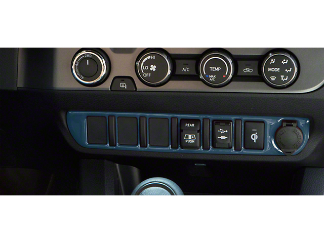 Center Dash 6-Switch Panel Accent Trim; Cavalry Blue (16-21 Tacoma)