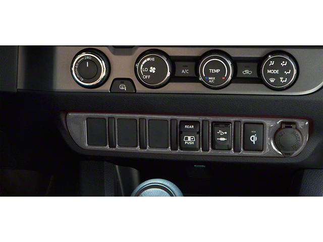 Center Dash 6-Switch Panel Accent Trim; Charcoal Silver (16-21 Tacoma)