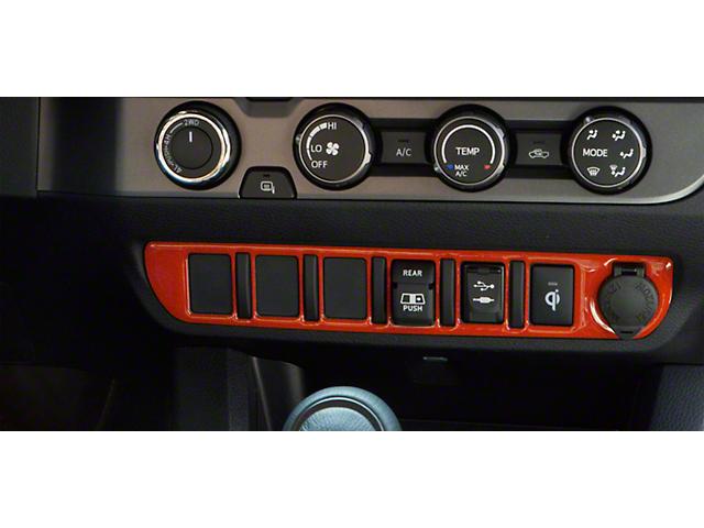 Center Dash 6-Switch Panel Accent Trim; Inferno (16-21 Tacoma)