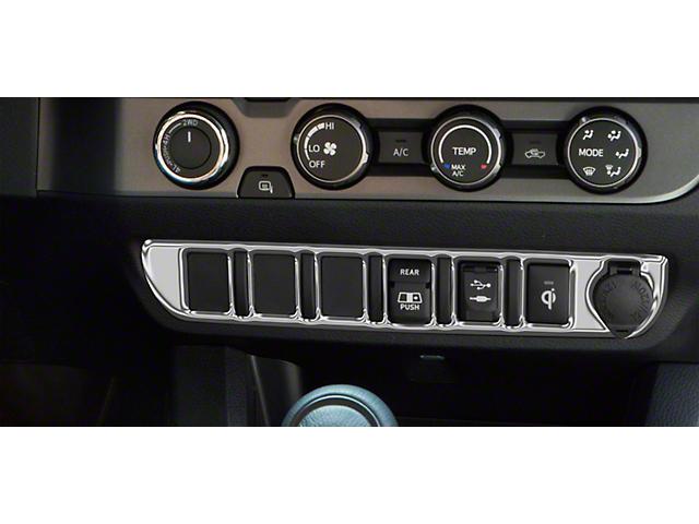 Center Dash 6-Switch Panel Accent Trim; Liquid Chrome (16-21 Tacoma)