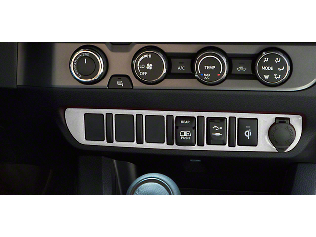 Center Dash 6-Switch Panel Accent Trim; Turbo Silver (16-21 Tacoma)