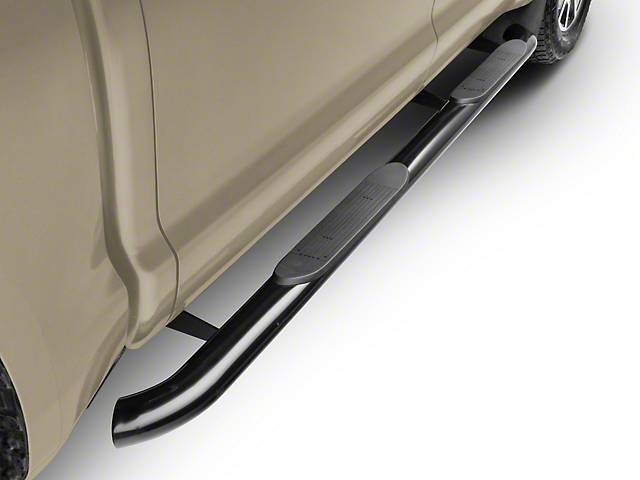 RedRock 4x4 4-Inch Oval Bent End Side Step Bars; Black (07-20 Tundra CrewMax)