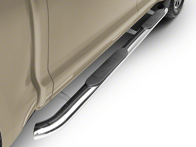 RedRock 4x4 4-Inch Oval Bent End Side Step Bars; Stainless Steel (07-20 Tundra CrewMax)