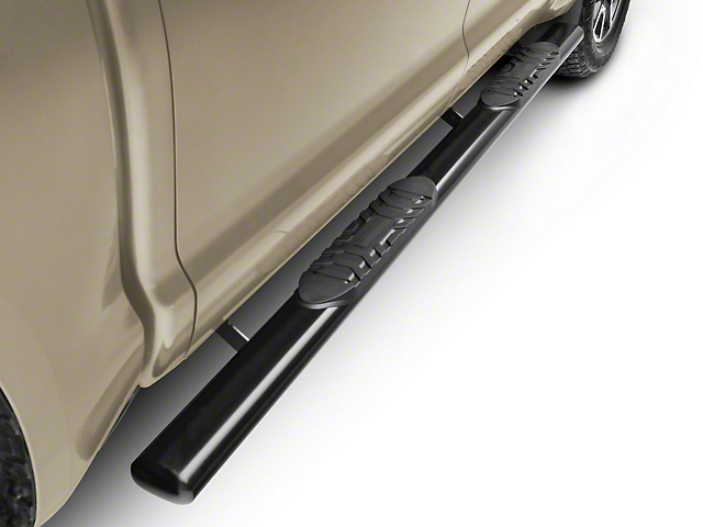 RedRock 4x4 5-Inch Oval Straight End Side Step Bars; Black (07-20 Tundra CrewMax)