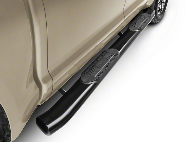 RedRock 4x4 6-Inch Oval Bent End Side Step Bars; Black (07-20 Tundra CrewMax)