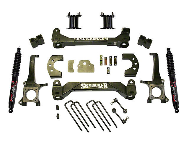 SkyJacker 4.50-Inch Front Strut Spacer Suspension Lift Kit with Black MAX Shocks (07-20 Tundra, Excluding TRD Pro or Air Ride Models)