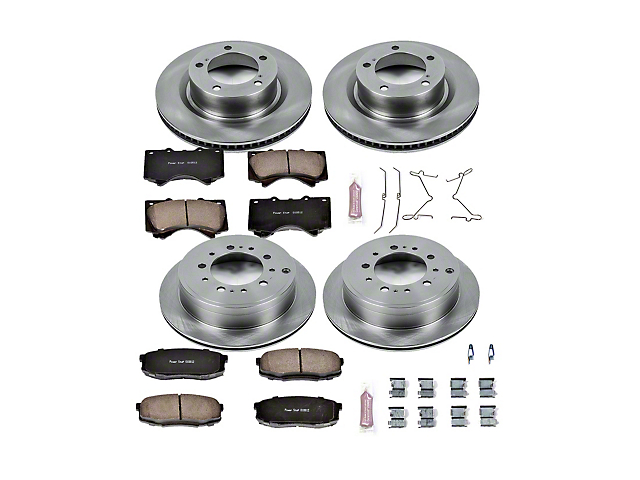 Power Stop OE Replacement Brake Rotor and Pad Kit; Front and Rear (07-20 Tundra)