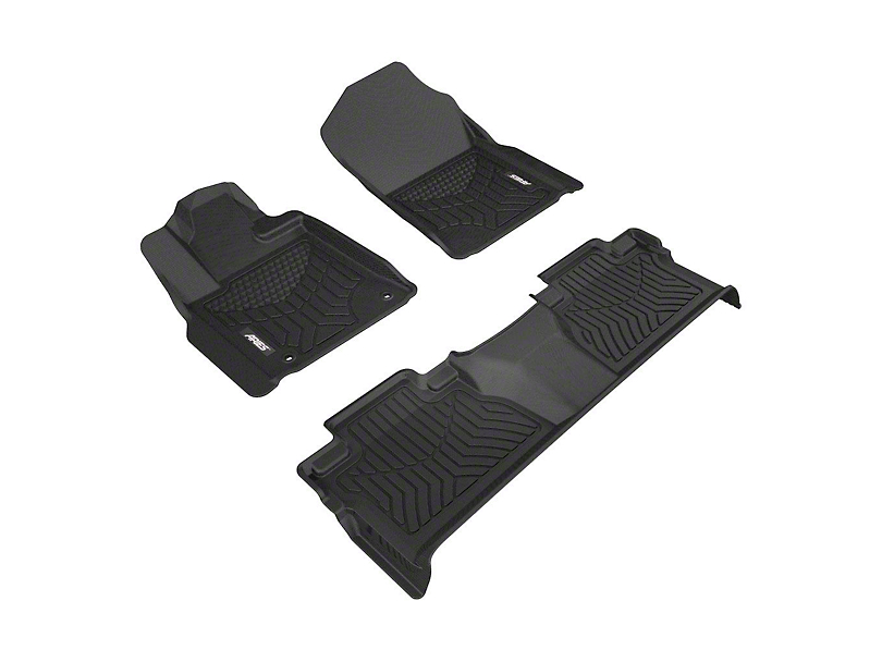 Aries Automotive StyleGuard XD Front & 2nd Row Floor Liners - Black (14-17 Tundra CrewMax)