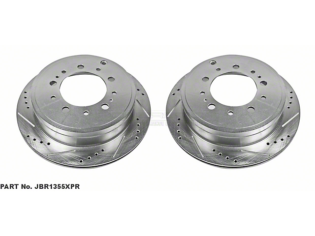 Power Stop Evolution Cross-Drilled and Slotted 5-Lug Rotors; Rear Pair (07-20 Tundra)