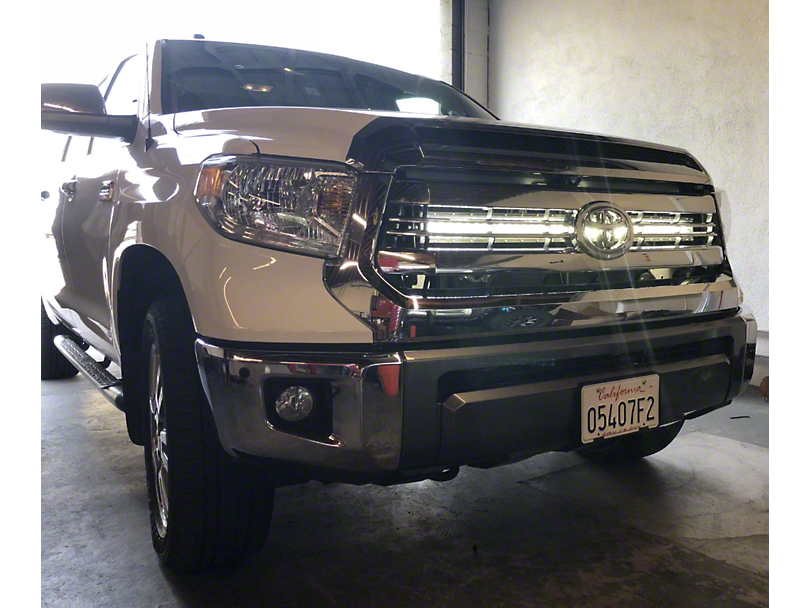Cali Raised LED 42-Inch Curved LED Light Bar with Hidden Grille Mounting Brackets; Spot Beam (14-20 Tundra)
