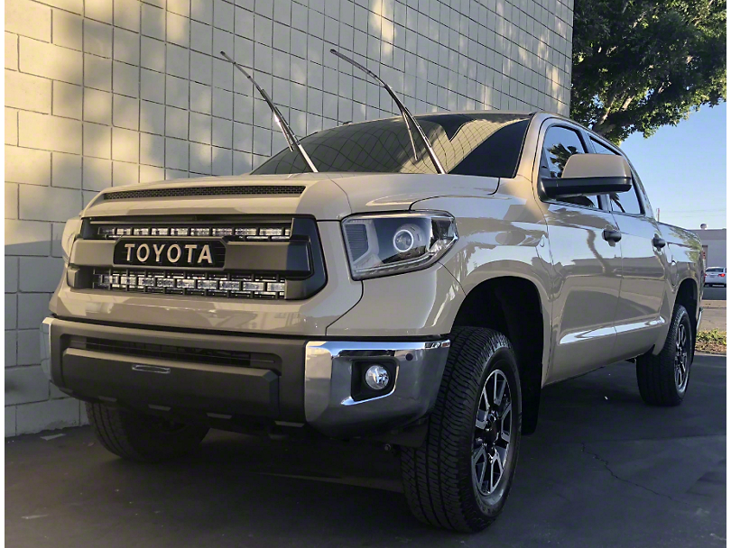 Cali Raised LED Dual 42-Inch Curved LED Light Bars with Hidden Grille Mounting Brackets; Spot Beam (14-20 Tundra)