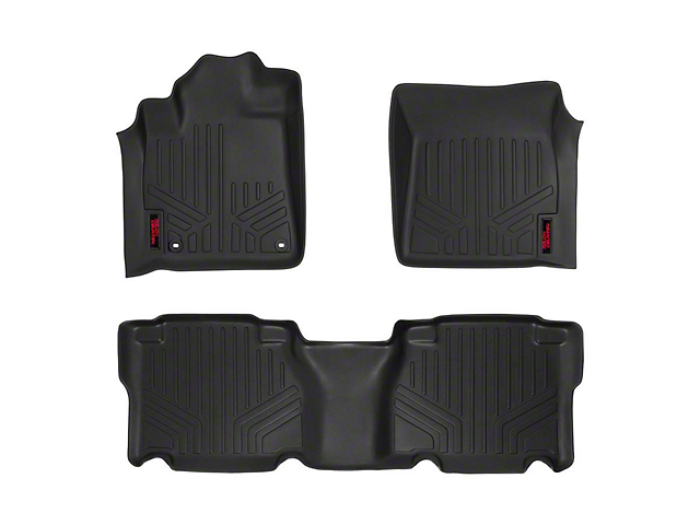 Rough Country Heavy Duty Front and Rear Floor Mats; Black (12-13 Tundra CrewMax)