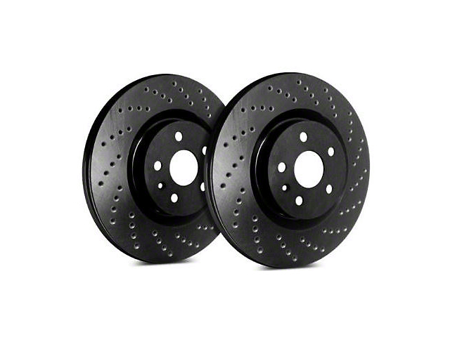 SP Performance Cross-Drilled Rotors with Black Zinc Coating; Front Pair (08-14 SRT8; 15-16 Scat Pack; 2017 R/T 392; 18-20 w/ 4-Piston Front Calipers)