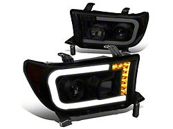 LED DRL Projector Headlights with Amber Corners; Black Housing; Smoked Lens (07-13 Tundra w/o Level Adjuster)