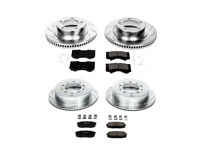 Power Stop Z23 Evolution Sport 5-Lug Brake Rotor and Pad Kit; Front and Rear (07-21 Tundra)