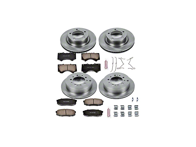Power Stop OE Replacement 5-Lug Brake Rotor and Pad Kit; Front and Rear (07-21 Tundra)