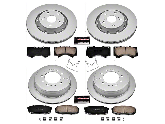 Power Stop Z17 Evolution Plus 5-Lug Brake Rotor and Pad Kit; Front and Rear (07-21 Tundra)
