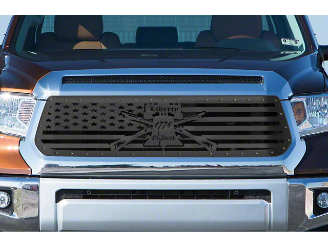 1-Piece Steel Upper Grille Overlay; Liberty or Death (14-17 Tundra)